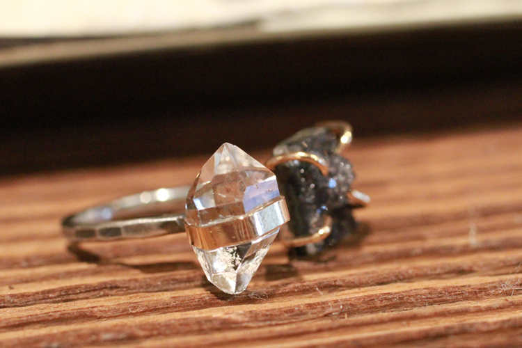Herkimer diamond ring from upstate New York, and druzy ring behind it