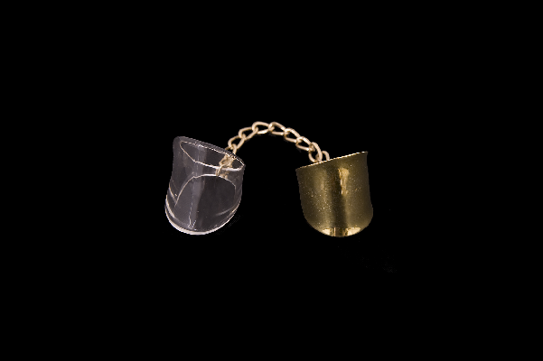 chain lucite and brass ring