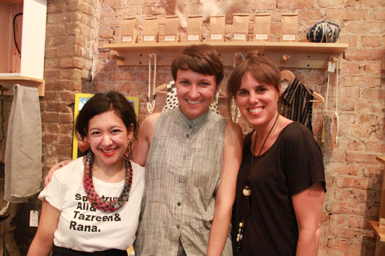 Tara St. James of Study NY in the center, and Kate, owner of Kaight Shop, on the right