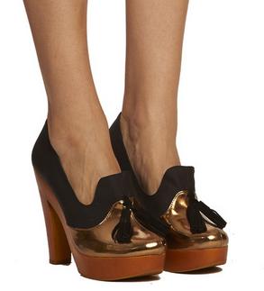 Crie de Coeur Bijou Platform Loafer, gold, $120