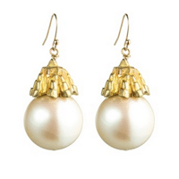 Deco pearl earrings // handmade from recycled brass and vintage Japanese glass pearls