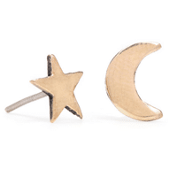 Moon and star studs // made in Cuernavaca, Mexico. Winifred partners with a workshop that employs poor local women to provide them with income and the opportunity to learn jewelry as a trade.