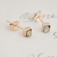 Rough Diamond Cube Earrings //  Handmade in NYC