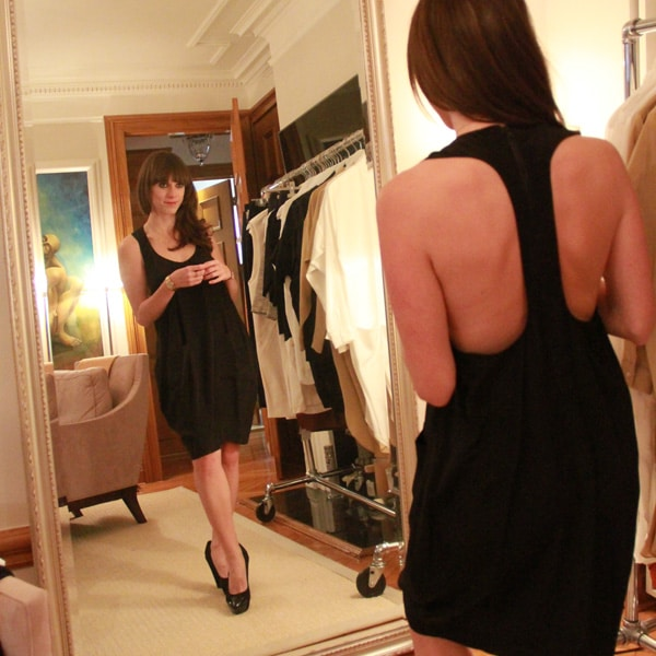 Suzanne Rae 100% silk, short racerback dress, made in NYC, $415