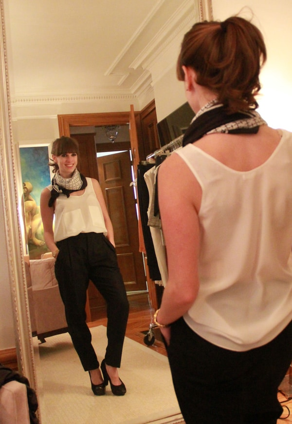 Malene Birgir scarf 100% silk scarf, $195; Suzanne Rae 100% silk white tank with pockets, made in NYC, $245