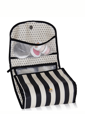 Striped toiletry bag // upcycled from plastic bottles // zippered pouches pop out for quick airport scanning!