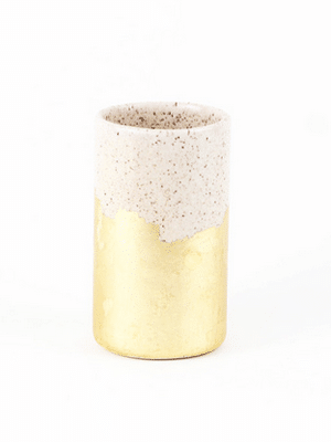 Gold and white flower vase or pencil holder // handmade in Kansas