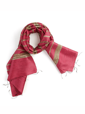 Pink silk scarf // ethically made from castoff silk in India