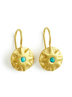 Gold and turquoise earrings // ethically made by artisans in India