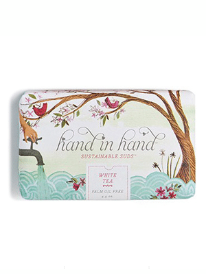 Sustainable soap // For every bar purchased, Hand in Hand will donate a bar to help prevent the spread of water-related illnesses in developing countries and will also will save 50 square feet of rainforest.  Palm Oil Free, vegan, nontoxic, biodegradable, Fair Trade USA Certified, Organic, Cruelty Free, Made in Vermont
