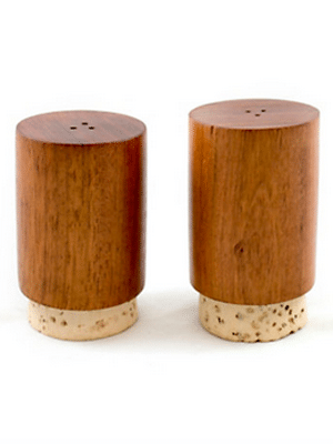 wood and cork salt and pepper shakers // fair trade