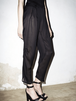 See-through black chiffon pants // Datura