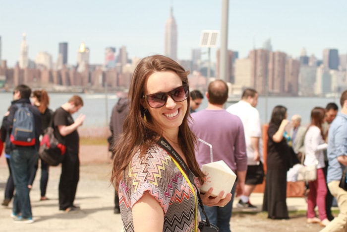 Lindsey Edson at Smorgasburg in front of the NYC skyline