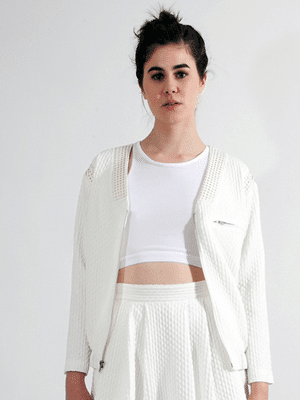 Ann Yee white bomber jacket // Young and Able