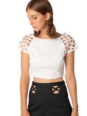 White Lattice Crop Top // in God We Trust