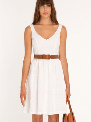 Amour Vert white polka dot eyelet dress