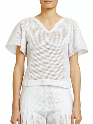 Maiyet flutter-sleeve see-through t-shirt