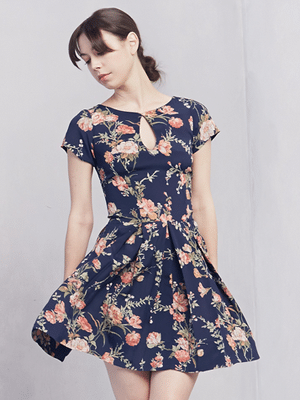 Reformation navy flowered dress