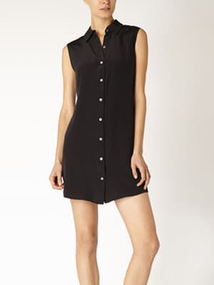 Carrie Parry black silk sleeveless shirtdress