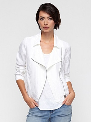 Eileen Fisher organic white linen jacket