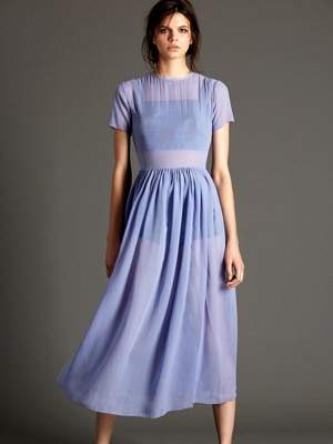 Mina and Olya silk chiffon dress in periwinkle