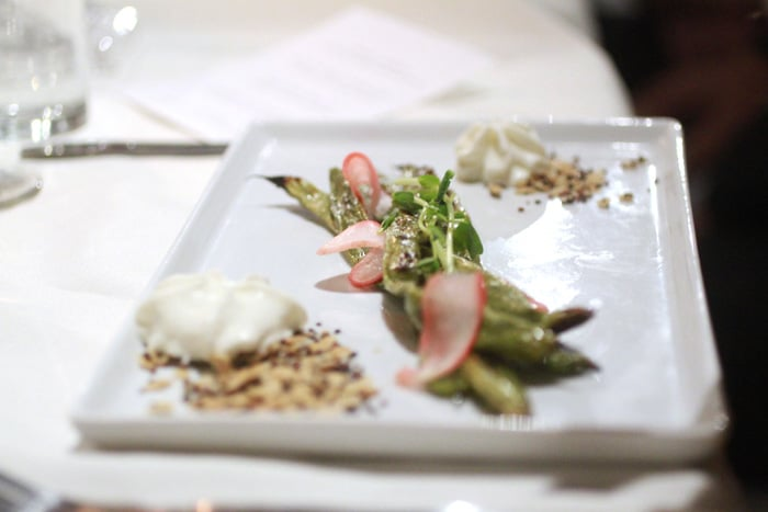 dutch runner beans with ancho pickled radish, quinoa seed granola and lemon whipped cream