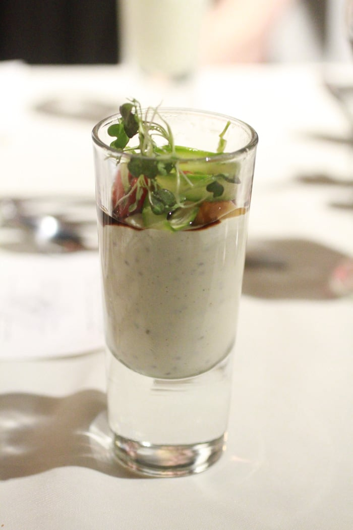 White pepper chia mousse with asparagus, cherry tomato and balsamic reduction