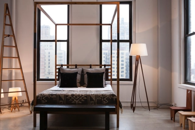 Materia Designs Stratus bed // converts into a four poster! // reclaimed or naturally felled American hardwood, vegetable-dyed leather.