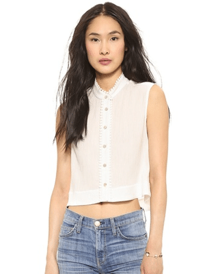 Heidi Merrick white cotton top // made in the US