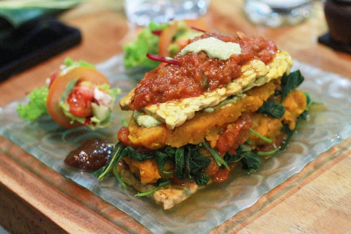 Vegan, gluten-free pumpkin and crispy tempe lasagna at Dayu's Warung