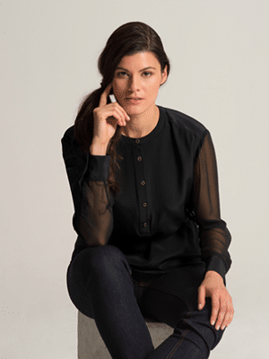 Silk Henley Tunic by Carrie Parry // made in NYC Garment District