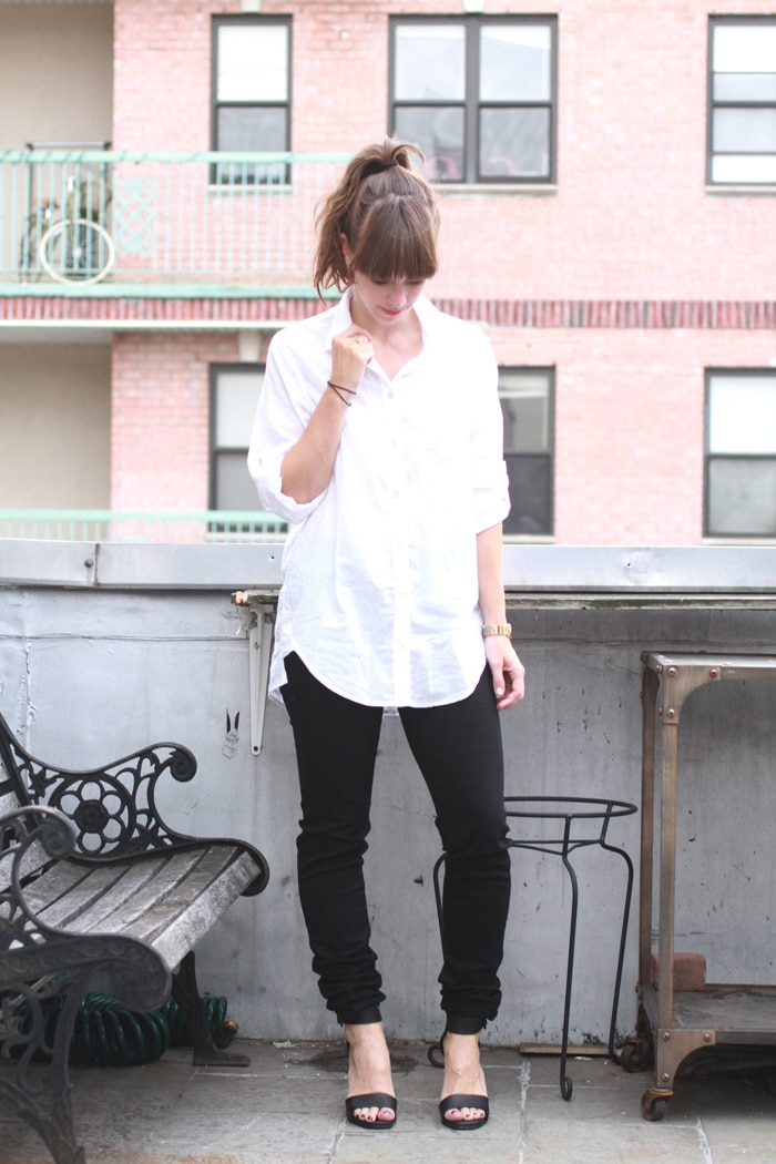 Synjin button down and Imogene +Willie black jeans // Alden Wicker // EcoCult //