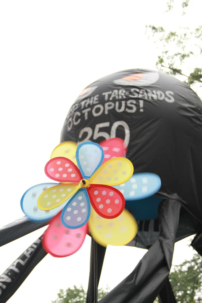 The evil Enbridge Tar Sands octopus that hung out with us during the march.