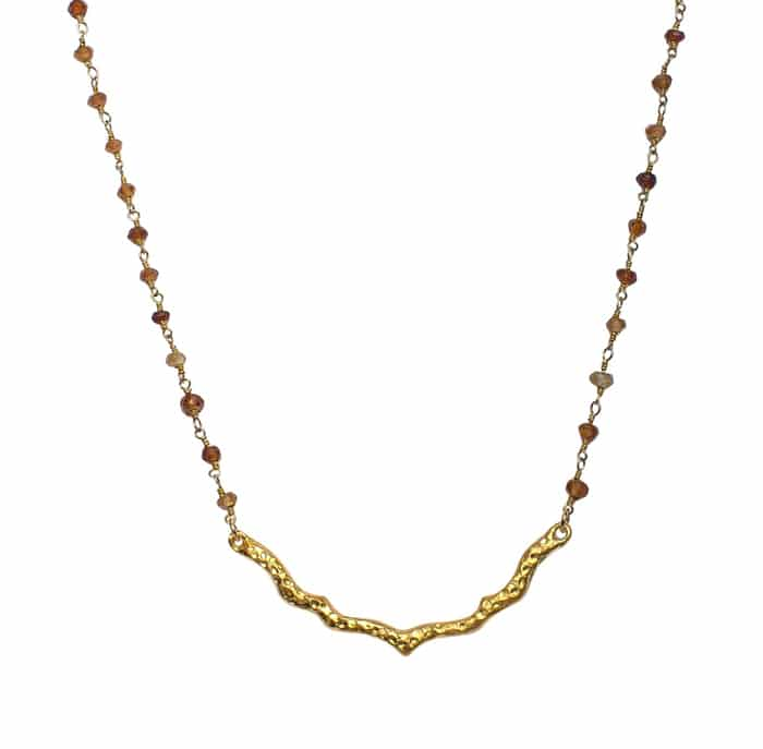 Gold Bar Hessonite Garnet Necklace by Love & Piece // made in the US