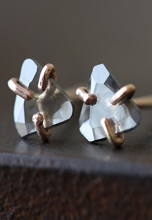 Natural Rose Cut Slice Stud Earrings // Alexis Russell // conflict-free + recycled metal
