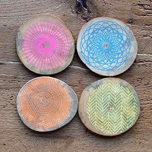 Neon Drink Coasters // Made from urban trees that have fallen or been cut down