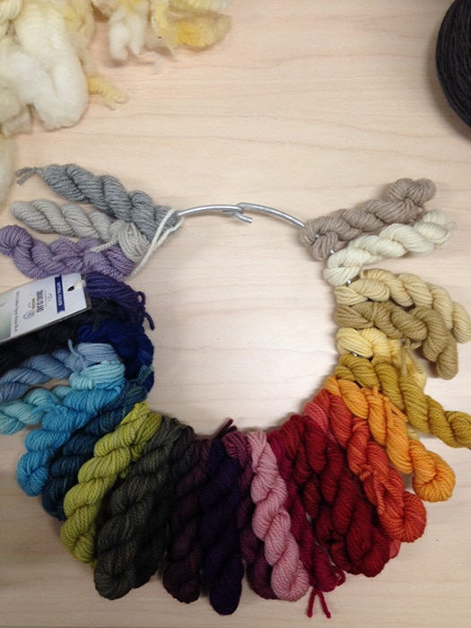 Low-impact dyed yarn samples.