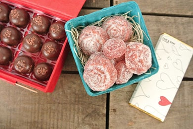 For the romantic: Be Mine: This ultimate Valentine's Day collection hits all the bases--from edible roses in the form of Pâte De Fruit to Decadent Chocolate Truffles to a Raw Raspberry Chocolate Bar.