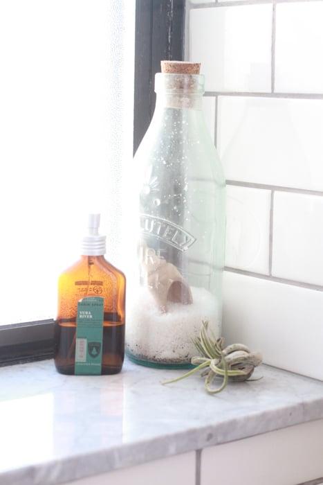Juniper Ridge cabin spray, bath salts, an air plant that I keep hydrated through our steamy showers.