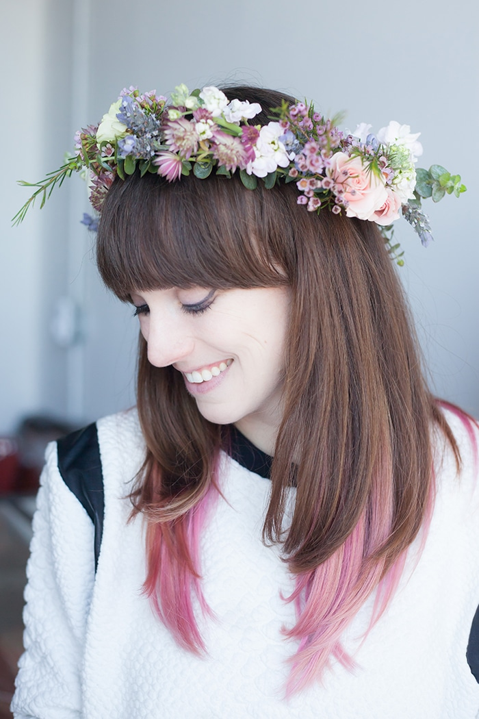In my finished flower crown. Photo credit: Julia Pinter