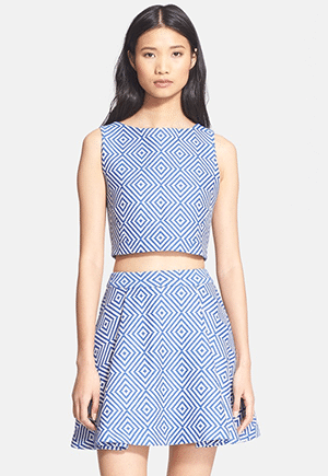 Alice & Oliva x Piece & Co. artisan made crop top and skirt