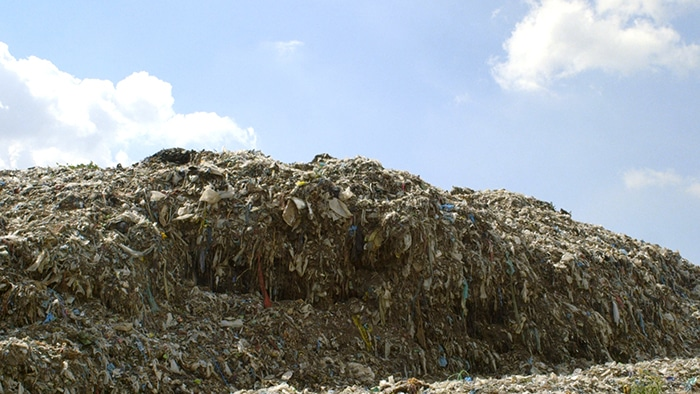 Piles of textile waste