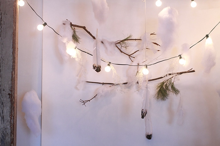 A pretty winter-themed photobooth area