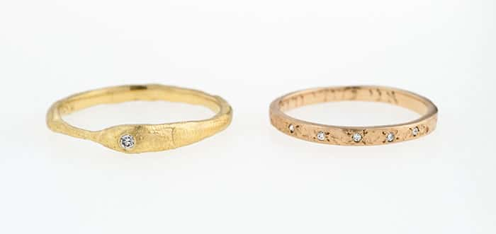 18K and 14K rings in Fairmined gold