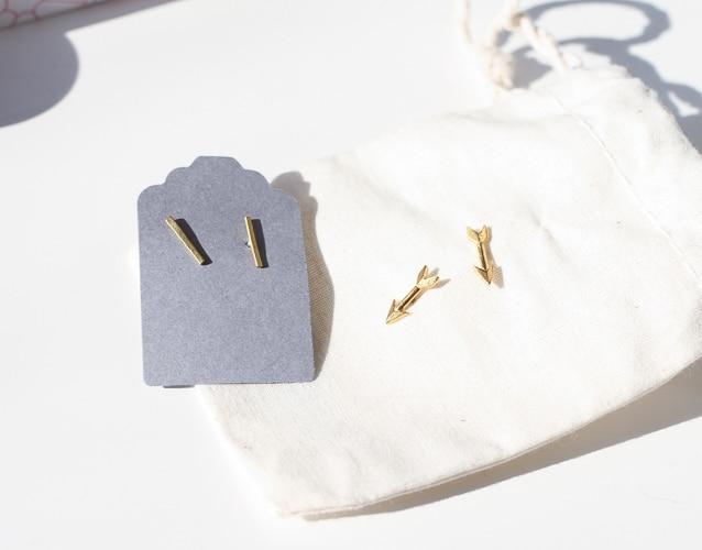 Arrow earrings and brass minimal stud earrings