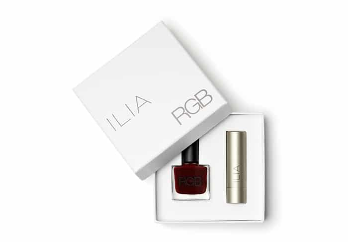 Ilia + RGB non-toxic nail polish and lipstick set
