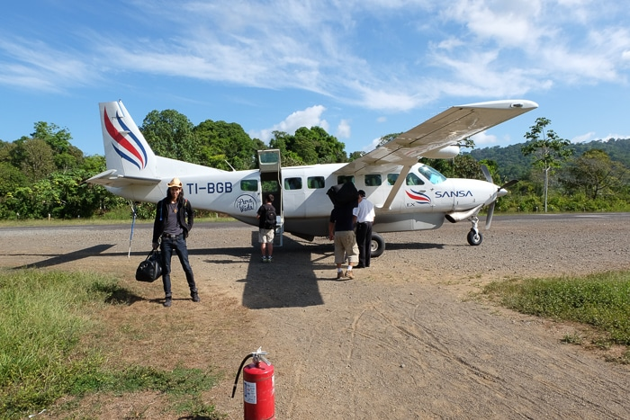 Our little plane on the dirt airport tarmac in Drake Bay