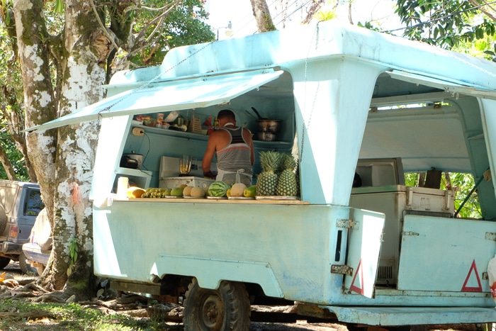 This guy serves up freshly blended smoothies out of this vintage trailer in Drake Bay.