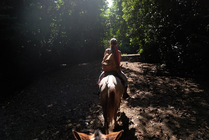 Horseback riding to a waterfall.