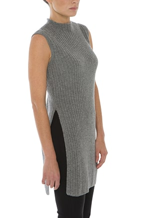 Ethically made cashmere ribbed tunic `